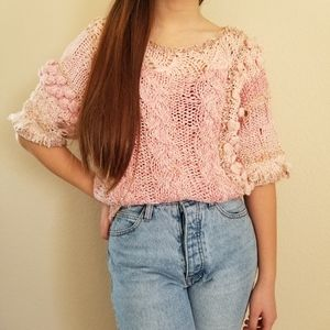 Vintage Handmade Knitted Adorable Sweater Top